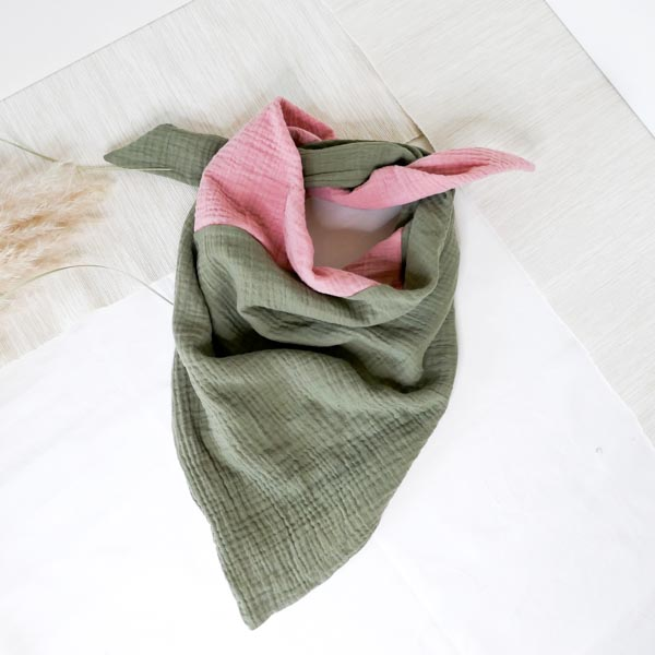 Musselintuch olive/rosa